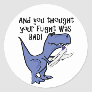 Funny Dinosaur Eating Airplane Cartoon Classic Round Sticker
