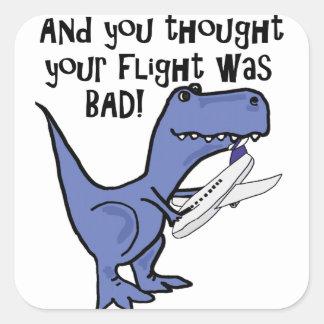 Funny Dinosaur Eating Airplane Cartoon Square Sticker