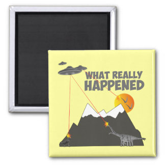 Funny Dinosaur extinction 2 Inch Square Magnet