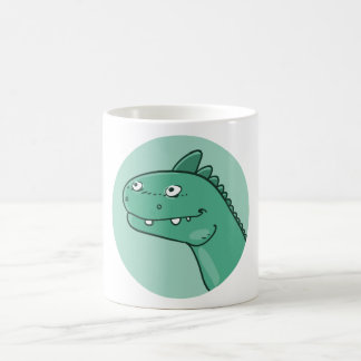 funny dinosaur head cartoon style illustration coffee mug