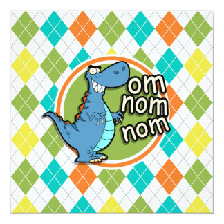 Funny Dinosaur on Colorful Argyle Pattern Invitation