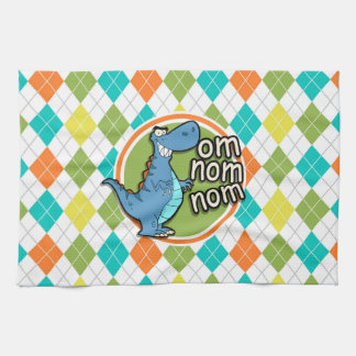 Funny Dinosaur on Colorful Argyle Pattern Kitchen Towel