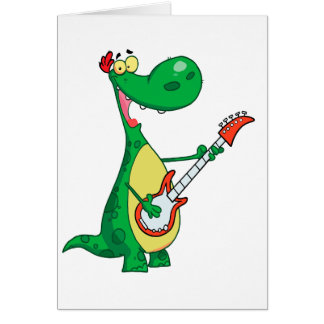 funny dinosaur playing guitar card