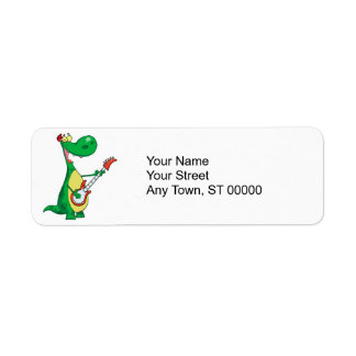 funny dinosaur playing guitar label