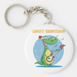 Funny Dinosaur Plays Guitar On Christmas Basic Round Button Keychain