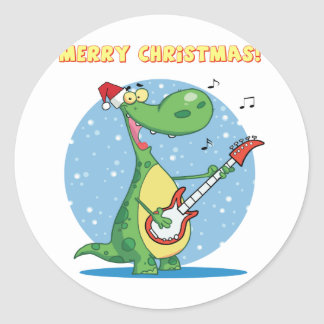 Funny Dinosaur Plays Guitar On Christmas Classic Round Sticker