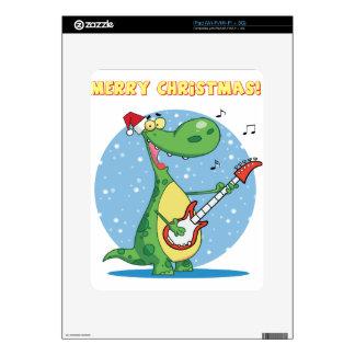 Funny Dinosaur Plays Guitar On Christmas Skin For iPad