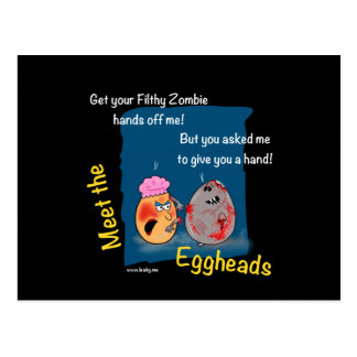 Funny Dirty Zombie Cartoon Gift eggheads by LeahG Postcard