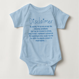 Funny Disclaimer- Boy Baby Bodysuit