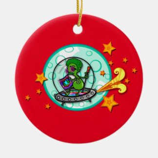 FUNNY DISCO ALIEN ROUND CHRISTMAS HOLIDAY ORNAMENT