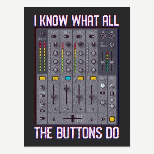 Funny Disco Techno DJ Button Mixer Postcard