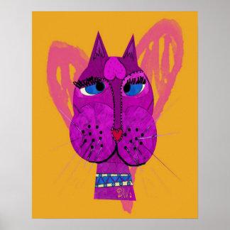 Funny Diva Kitty Poster