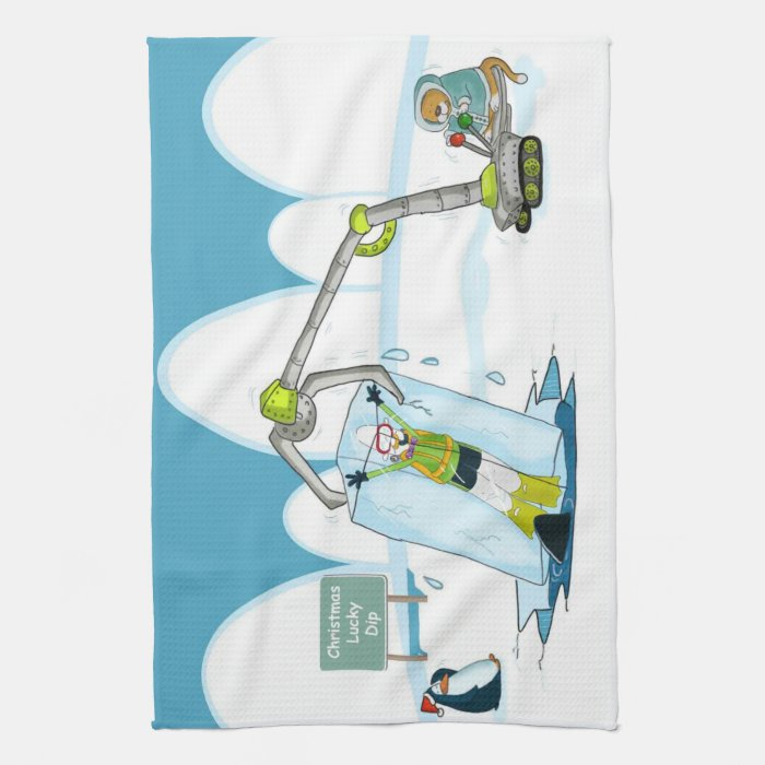 Funny Diving Christmas Kitchen Towel Zazzle