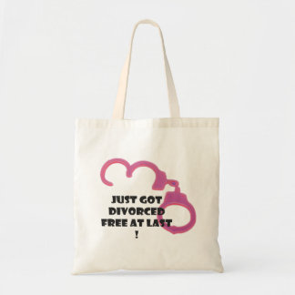 Funny Divorce free at last with open neon pi Budget Tote Bag