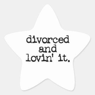 "Funny Divorce Gift ""Divorced and lovin' it."" Star Sticker"