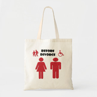 Funny Divorce thinking of man and woman Budget Tote Bag