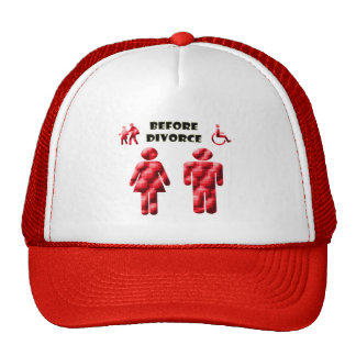 Funny Divorce thoughts of woman and man Trucker Hat