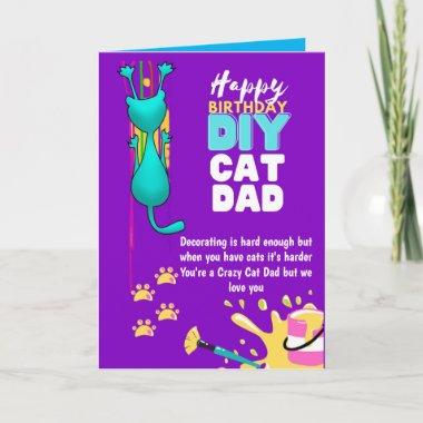 Funny DIY CAT DAD Birthday - Crazy About Cats DIY Card
