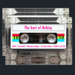 """Funny DJ 80s Cassette Tape 18th Birthday Invitation<br><div class=""""desc"""">Funny DJ 80s Cassette Tape 18th Birthday. Celebrate your eighteenth birthday party with this funny 80s clear cassette tape with a vintage  white label on both sides. Customize with your own text.</div>"""