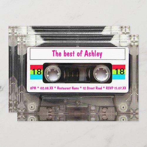 Funny DJ 80s Cassette Tape 18th Birthday Invitation