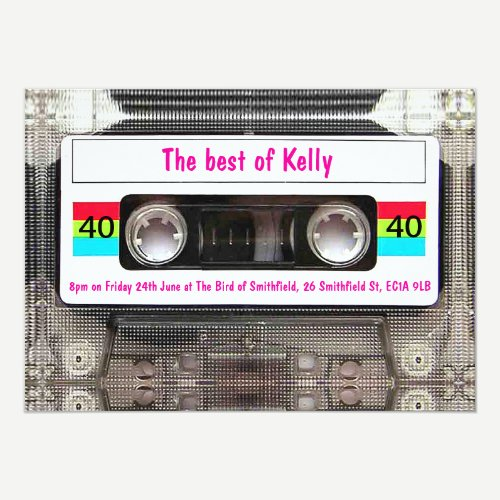 Funny DJ 80s Cassette Tape 40th Birthday custom Invitation