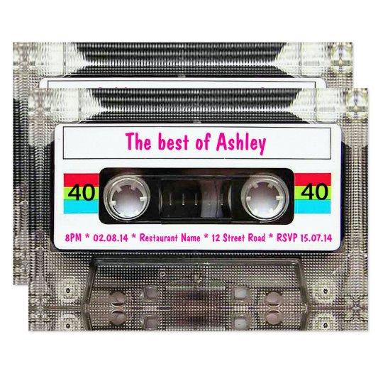 Funny Dj 80s Cassette Tape 40th Birthday Invitation Zazzle Com