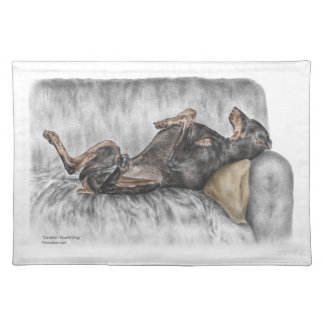 Funny Doberman on Sofa Cloth Placemat
