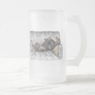 Funny Doberman on Sofa Frosted Glass Beer Mug