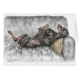 Funny Doberman on Sofa Greeting Card