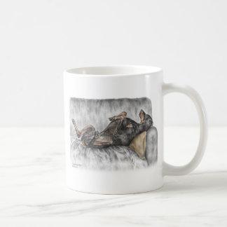 Funny Doberman on Sofa Coffee Mugs