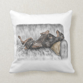 Funny Doberman on Sofa Throw Pillows
