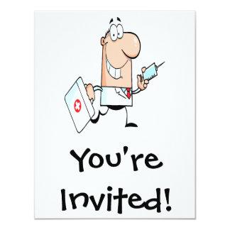 funny doctor doc on the run cartoon custom invitation