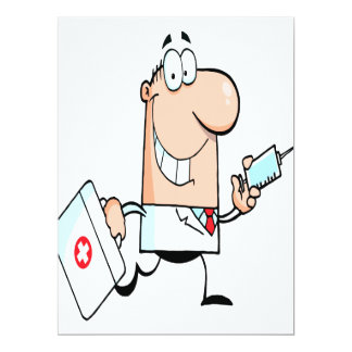 funny doctor doc on the run cartoon personalized invitation