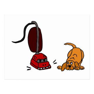 Funny Dog Afraid of Vacuum Cleaner Postcard