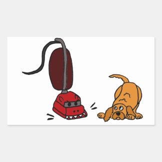 Funny Dog Afraid of Vacuum Cleaner Rectangular Sticker
