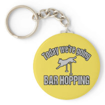 Funny Dog Agility Bar Hopping Keychain Gift