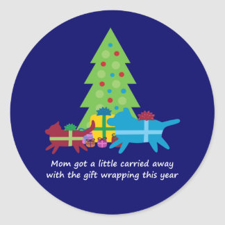 Funny Dog  and Cat Christmas Presents Classic Round Sticker