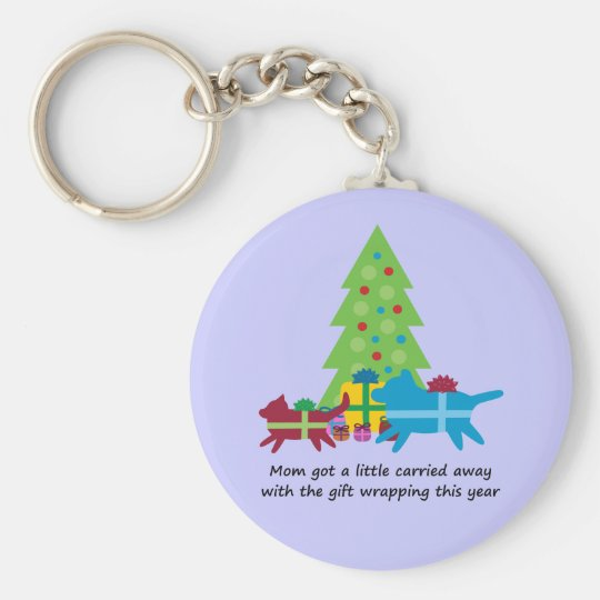 Funny Dog  and Cat Christmas Presents Keychain
