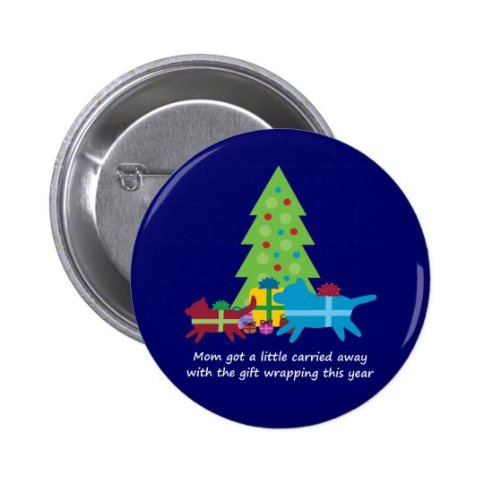 Funny Dog  and Cat Christmas Presents Pinback Button