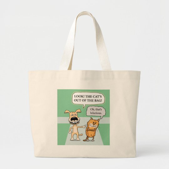 Funny Dog and Cat Large Tote Bag