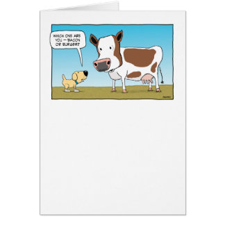 Funny Dog and Cow Birthday Card