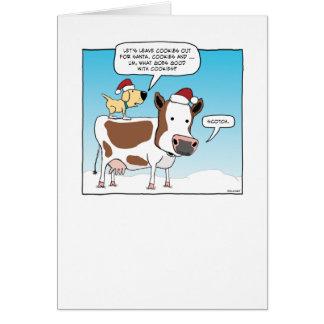 Funny Dog and Cow Christmas Card