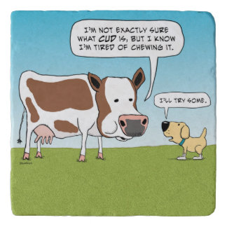 Funny Dog and Cow Tired of Chewing Cud Trivets