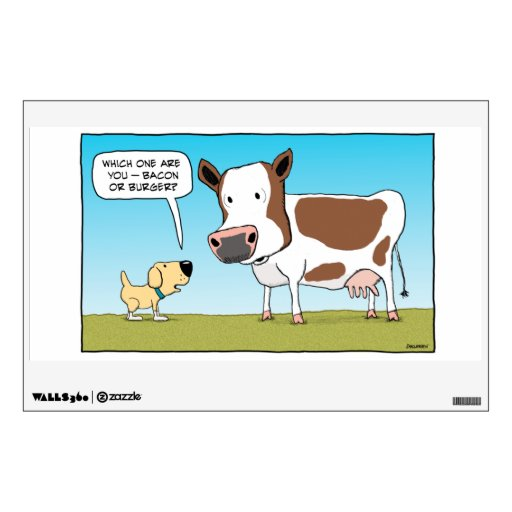 Funny Dog and Cow wall decal