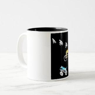Funny Dog and Cycyling Art Two-Tone Coffee Mug