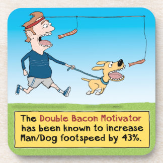 Funny Dog and Man Chasing Bacon Beverage Coaster