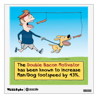 Funny Dog and Man Chasing Bacon Wall Decal
