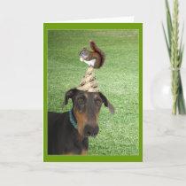 Funny dog and squirrel birthday card