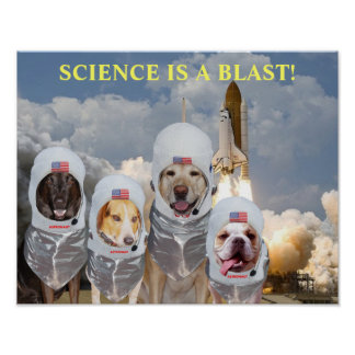 Funny Dog Astronauts Science Poster