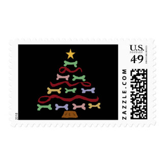 Funny Dog Biscuit Christmas Tree Art Postage